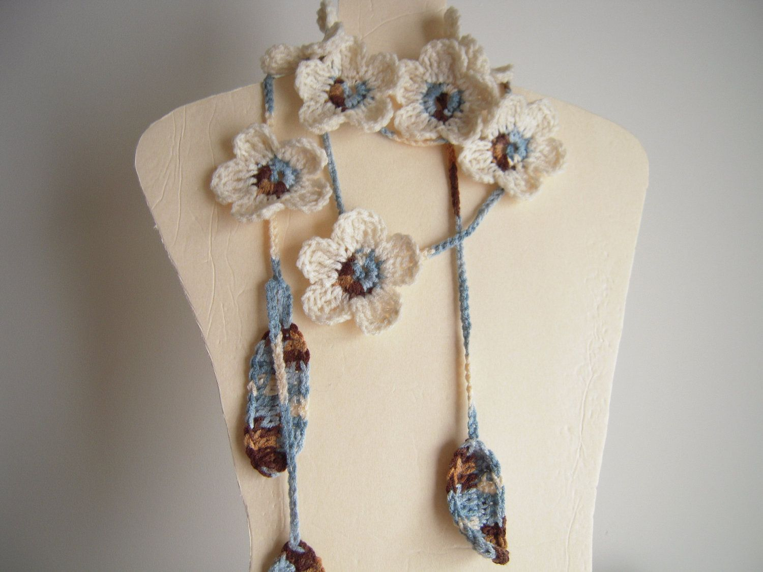 Off White Brown Blue Flower Lariat Necklace Scarf by MadeByFlower