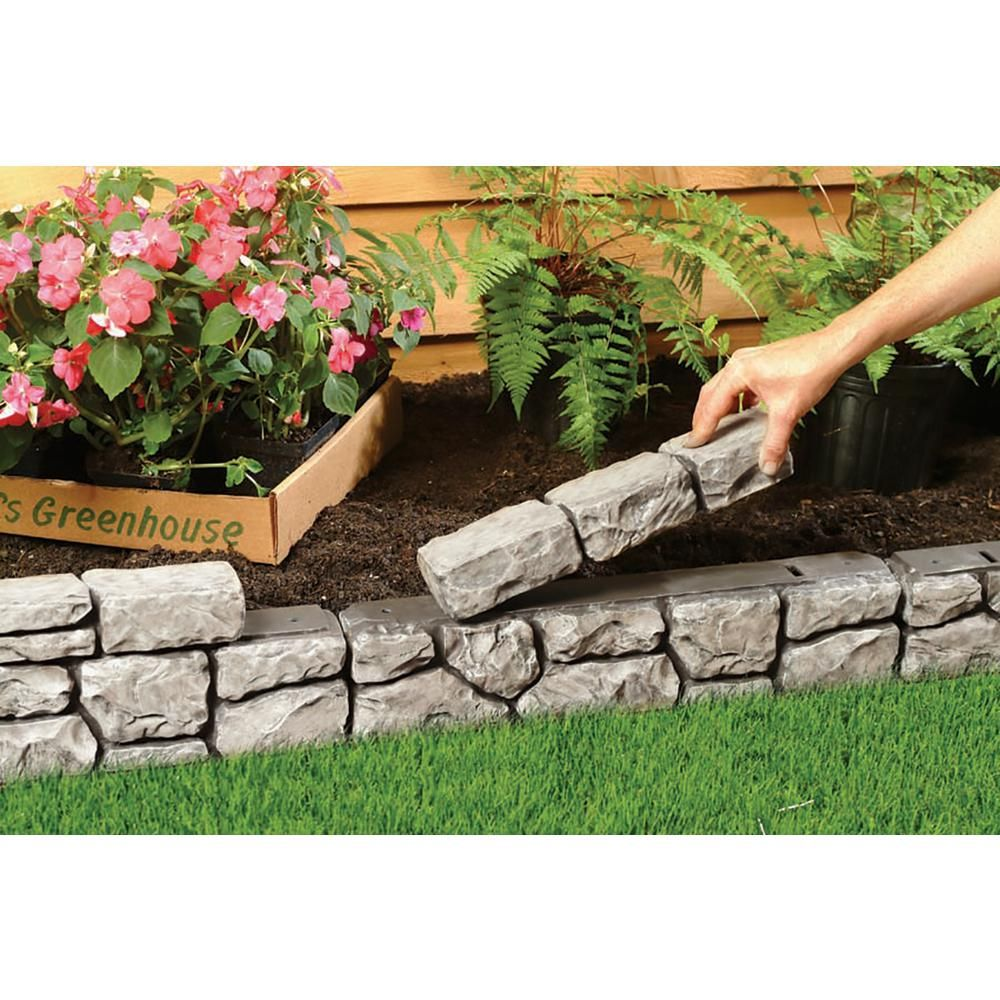Unbranded Dalen Products 6 in. x 10 ft. StoneWall Border-E4-10GY - The Home Depot