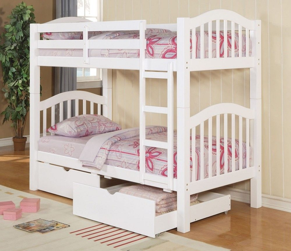 Girls loft bed with stairs  Twin Twin Heartland White Bunk Bed   Drawers  Girls Room