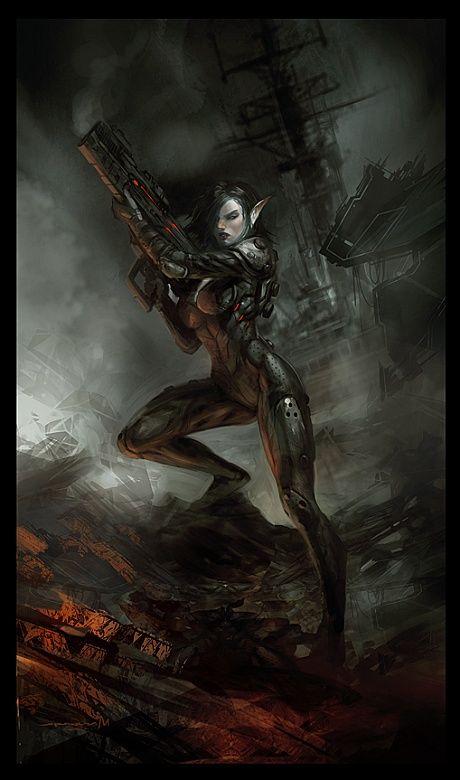 By Daryl Mandryk Elf Art Cyberpunk Character Science Fiction Art