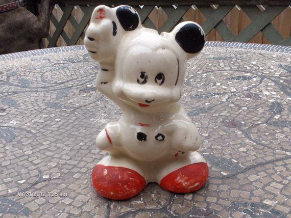 Vintage Ceramic Mickey Mouse Collectible Bank Very Rare