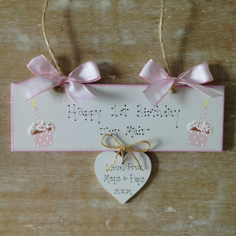 Personalised 1st Birthday Gift Sign With Hand Painted Cupcakes And Candles