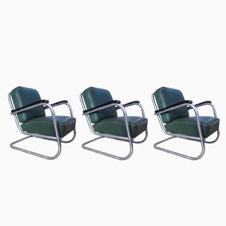 Deutsche Freischwinger Bauhaus Stühle aus Stahlrohr von Mauser Werke ...
