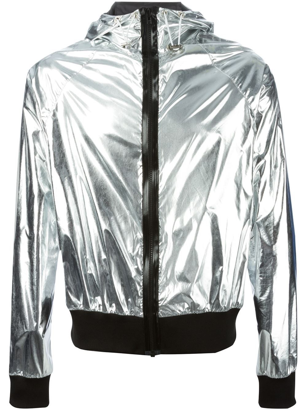 3f699a87a460 Wanda nylon Metallic Hooded Bomber Jacket in Silver for Men (metallic)