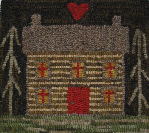 Hand Made Primitive Hooked Rug Log Cabin Folk Art Early Style