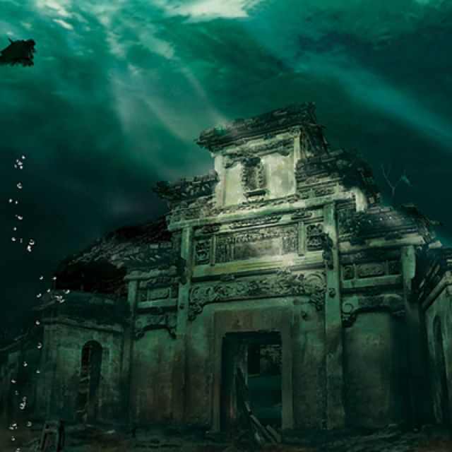 Underwater City in Shicheng, China. This incredible underwater city, trapped in time, is 1341 years old. Shicheng, or Lion City, is located in the Zhejiang province in eastern China. It was submerged in 1959 during the construction of the Xin'an River Hydropower Station. The water protects the city from wind and rain erosion, so it has remained sealed underwater in relatively good condition.