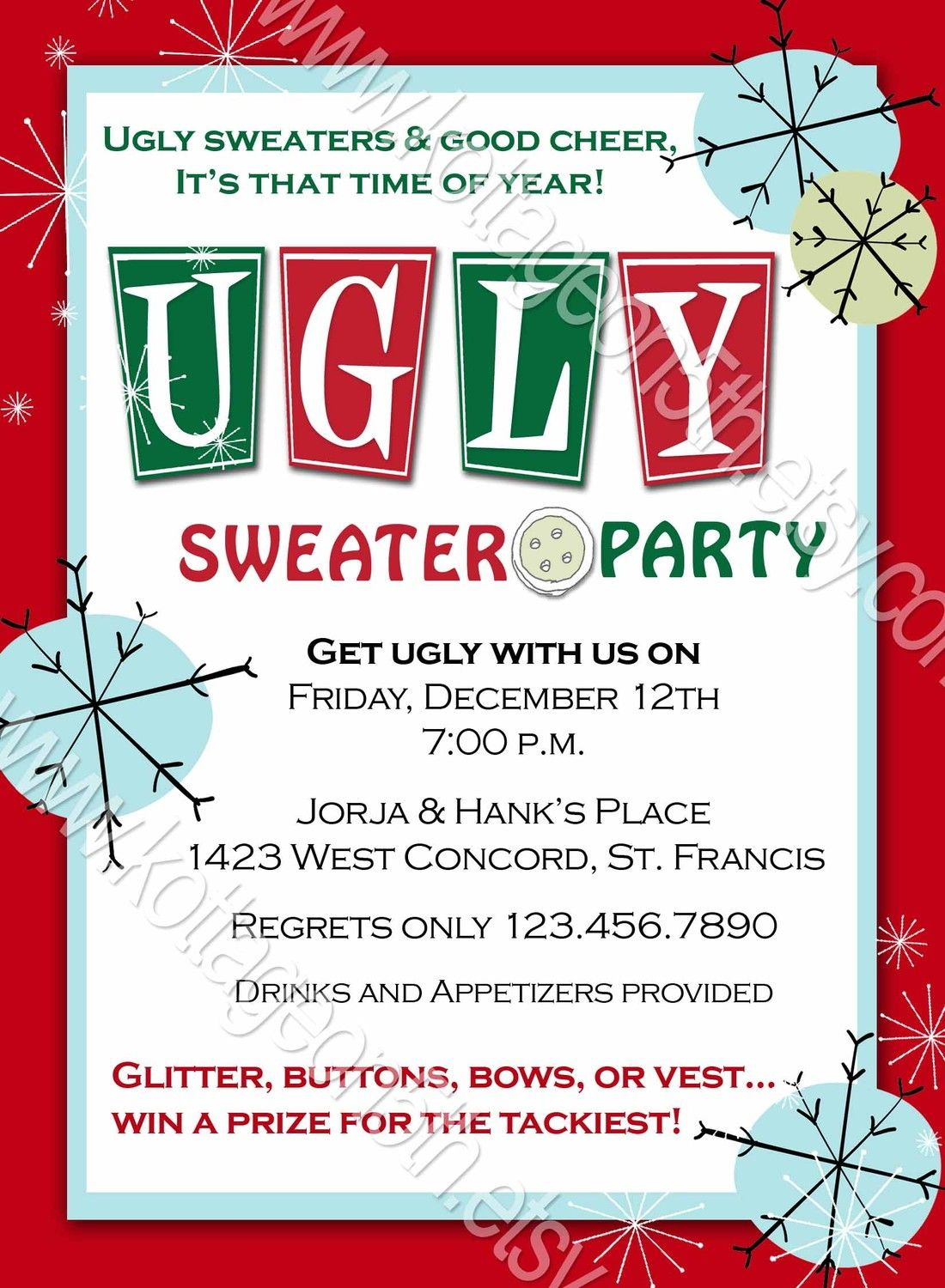ugly sweater party christmas or new years invitation digital photo greeting card design
