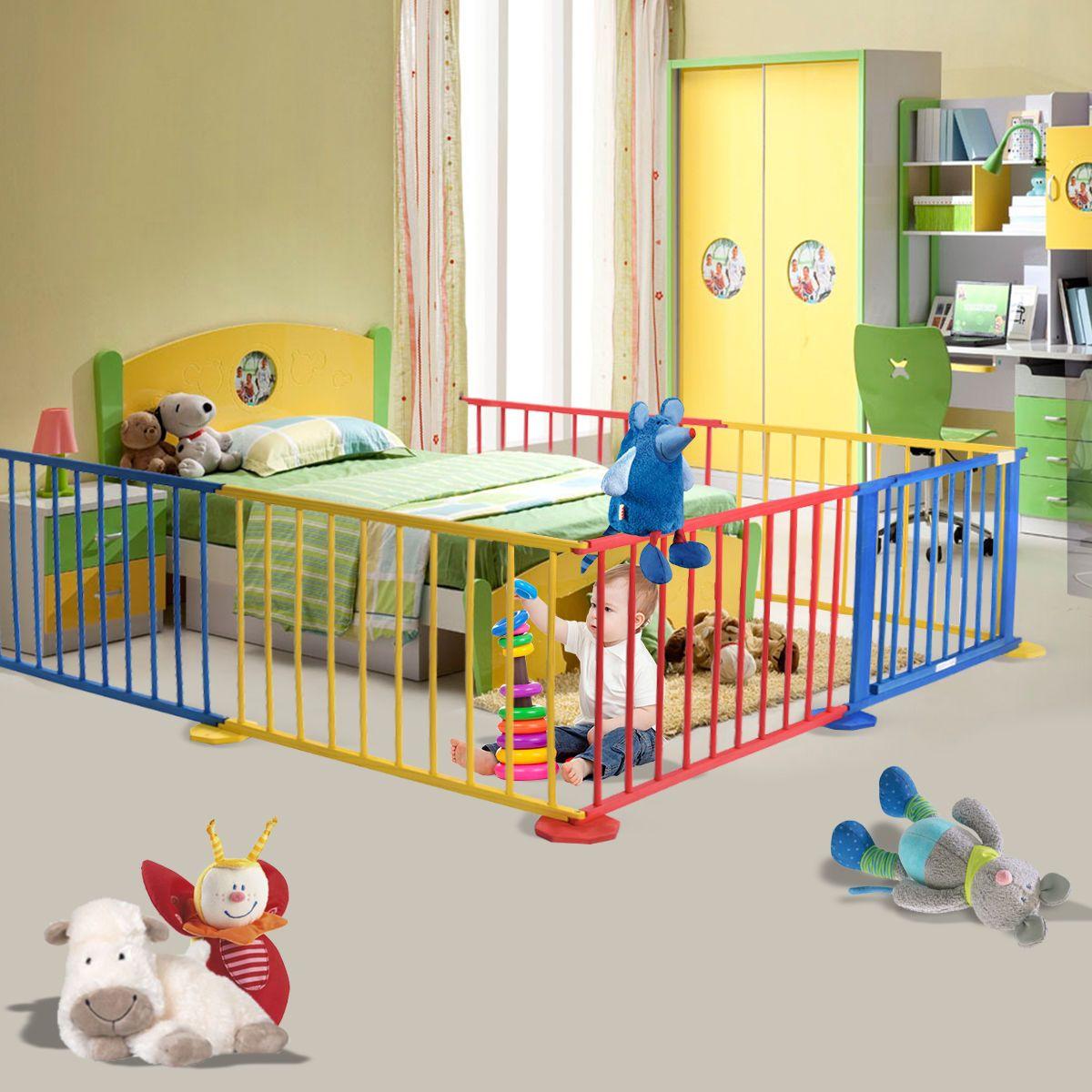 Baby Playpen 6 Panel Colors Wooden Frame Children Playard