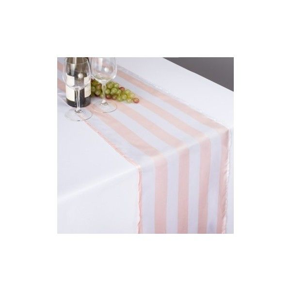 Exceptional Blush Pink White Striped Satin Table Runner ($3.35) ❤