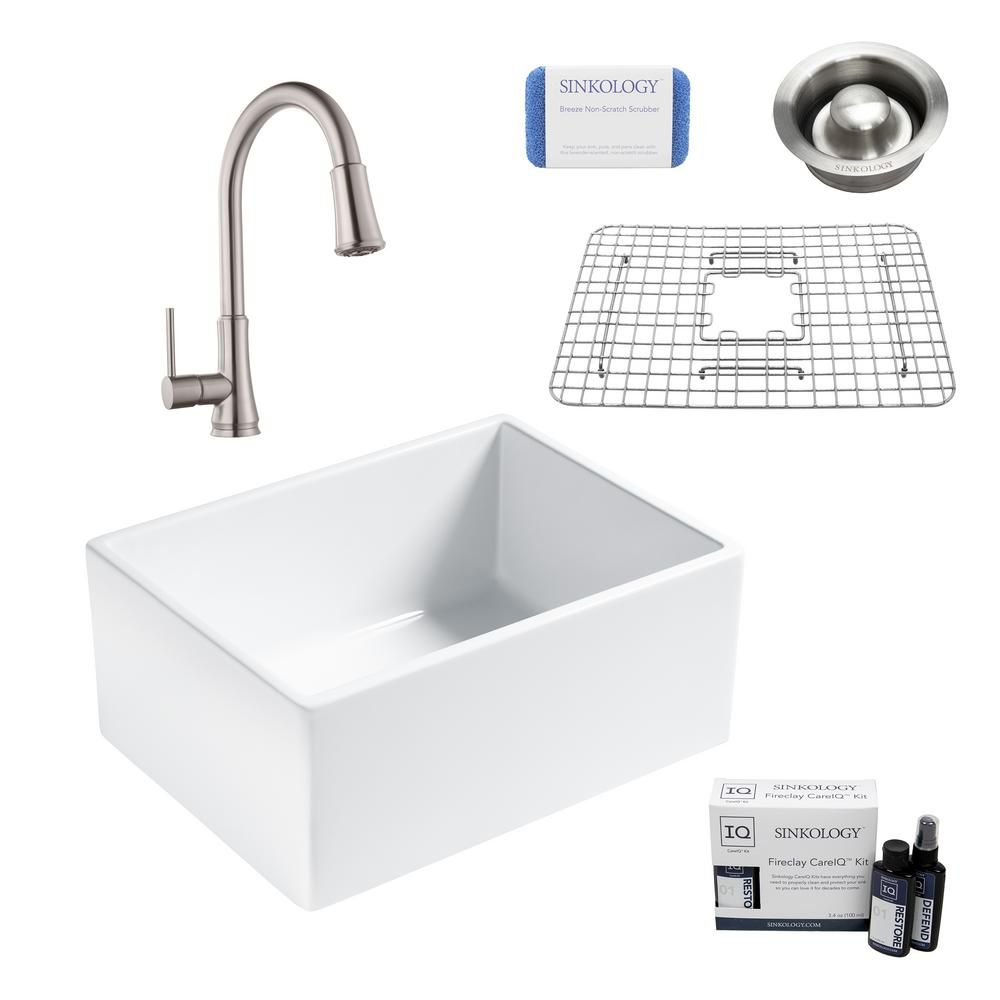 Sinkology Wilcox Ii All In One Farmhouse Apron Fireclay 24 In Single Bowl Kitchen Sink With Faucet And Drain In Stainless Crisp White Single Bowl Kitchen Sink Sink Farmhouse Aprons