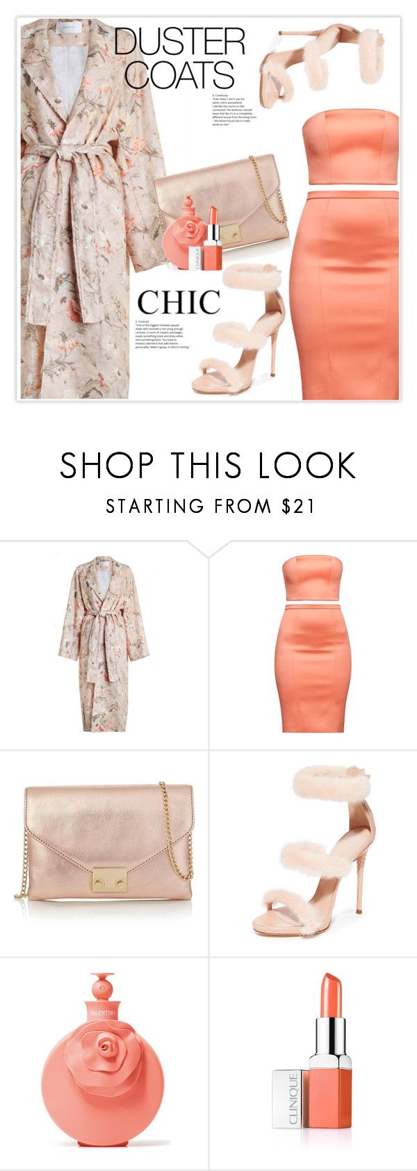 """""""Long Layers: Duster Coats"""" by stranjakivana ❤ liked on Polyvore featuring Zimmermann, Loeffler Randall, Giuseppe Zanotti, Valentino, Clinique, polyvoreeditorial, whitesneakers and DusterCoats"""