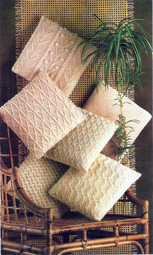 SUPER ARAN CUSHION COVERS KNITTING PATTERN - 6 DESIGNS | DOS AGUJAS ...