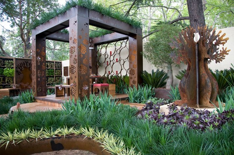 Large Boarb Garden Sculpture In Rusted Corten, Outdoor Seating And  Furniture, Laser Cut Pergola