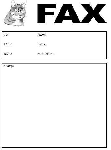 Veterinarians, pet shops, and cat lovers alike will enjoy this - blank fax cover sheet
