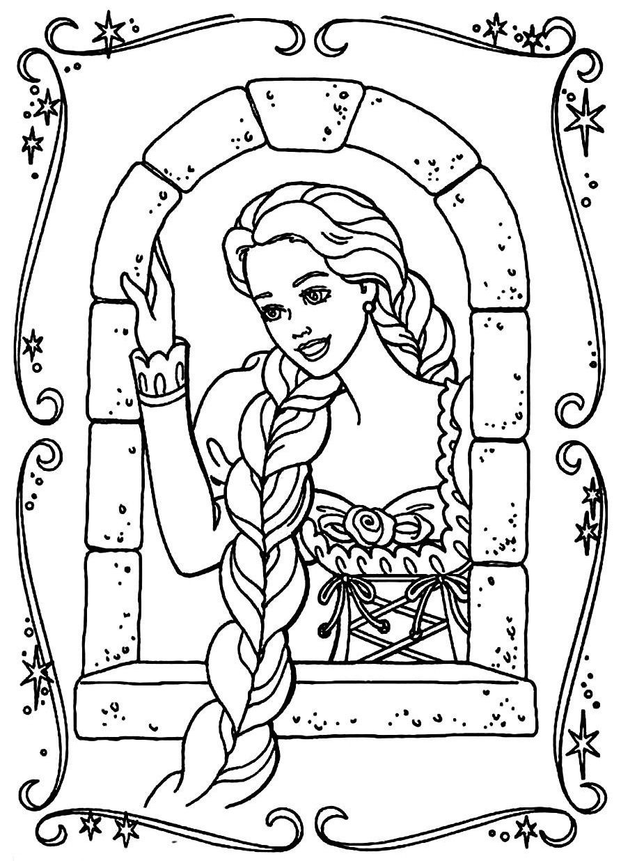 Barbie Rapunzel Coloring Pages Kids Coloring Page