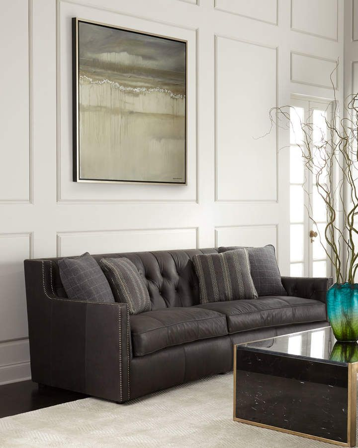 Everett Tufted Leather Settee In 2019: Bernhardt Madeline Tufted Leather Sofa 96 In 2019