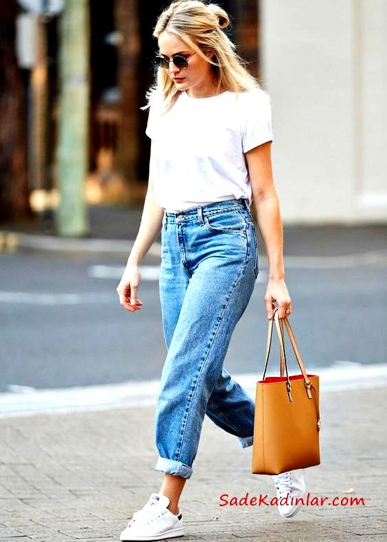 Mom Jean Kombinleri Mavi Mom Jeans Beyaz Kisa Kollu Tisort Beyaz Sneaker Ayakkabi Jean Denimjeans Denim 2020 Gunluk Yazlik Elbiseler Moda Erkek Arkadas Jeanleri