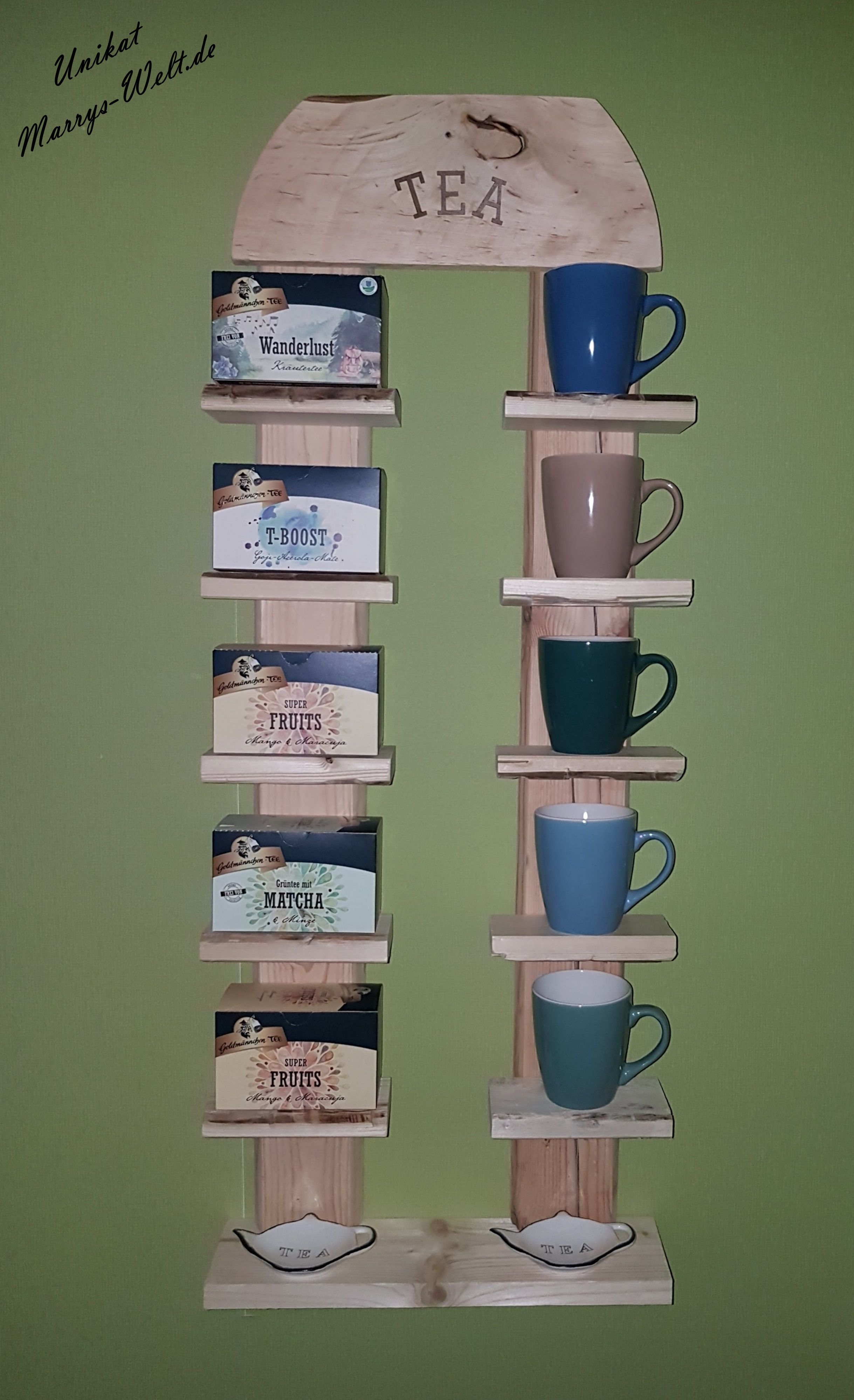 tee regal upcycling tea time tee geschenk idee pinterest sch ne dinge selber machen und. Black Bedroom Furniture Sets. Home Design Ideas