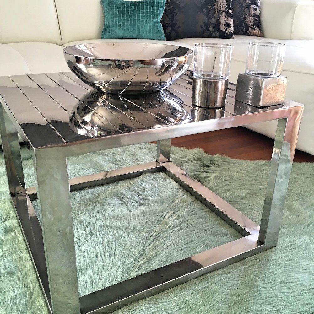 Beistelltisch Tisch Kuhfell Teppich Aqua Grun Beistelltisch