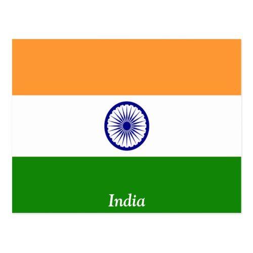 Flag Of India Postcard Zazzle Com In 2020 Postcard Flag India