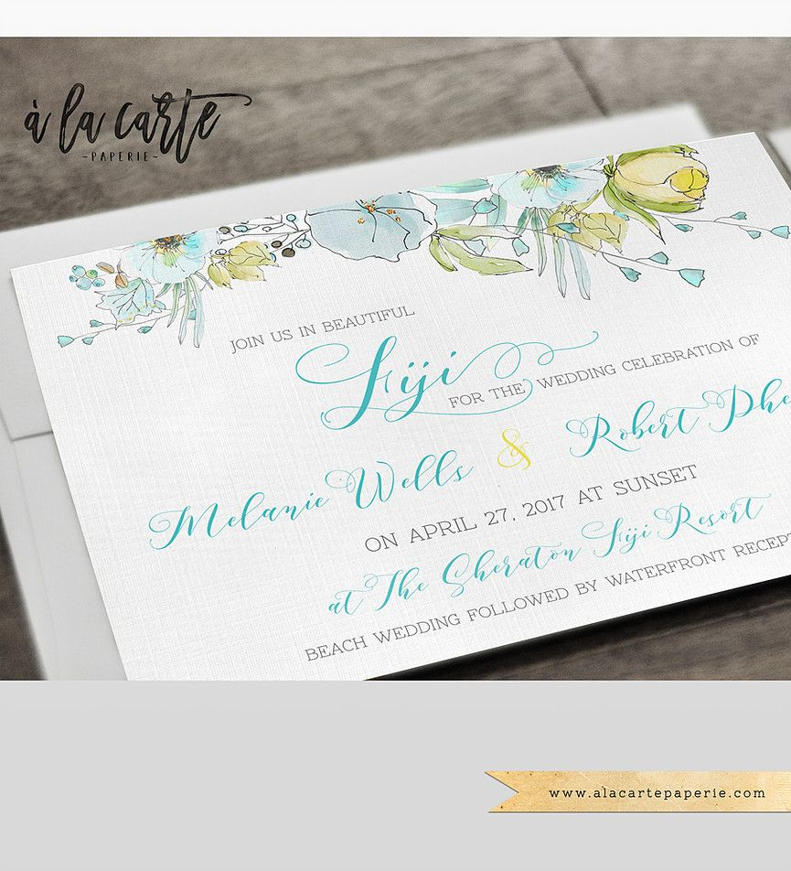 Fiji Pacific Islands Destination Wedding Invitation Set Tahiti