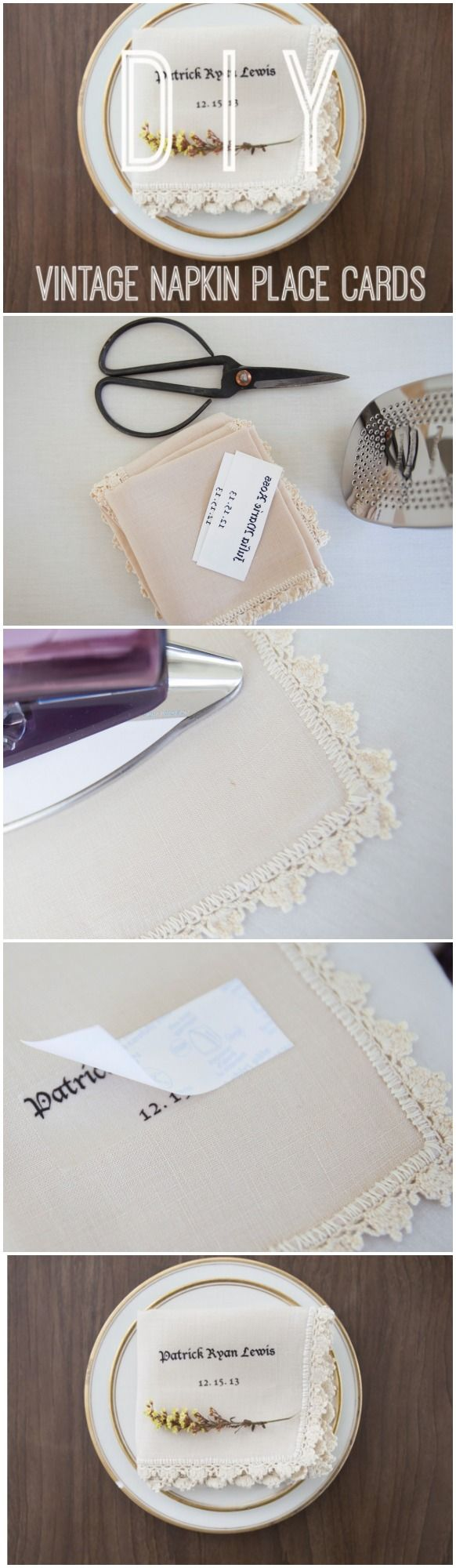 How to Make Personalized Vintage Napkins | Place card, Wedding and ...