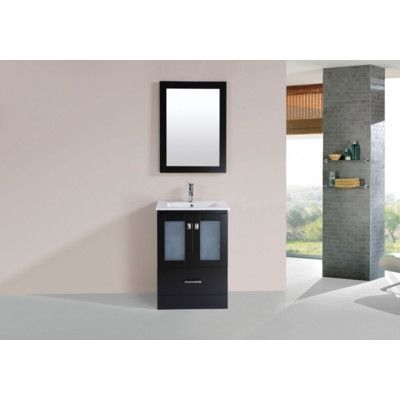 "PacificCollection Hermosa 24"" Single Modern Bathroom Vanity Set with Mirror Base Finish:"