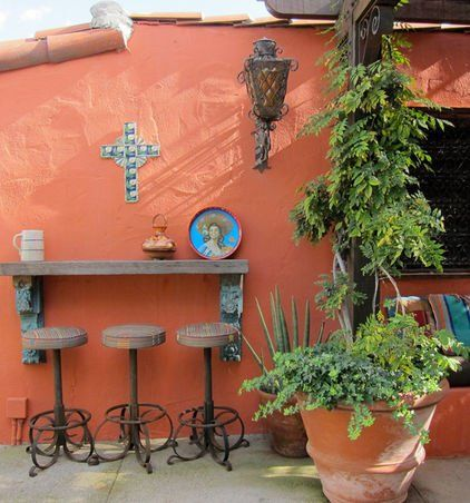 Eclectic Patio By Sandy Koepke Mexican Influenced Outdoor Bar With Striped Cushions Terracotta Pots Mexican Courtyard Mexican Patio Mexican Home Decor