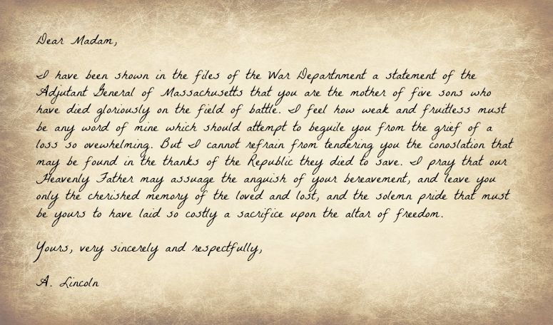 Lincoln's letter to Mrs. Bixby, quoted in Saving Private Ryan