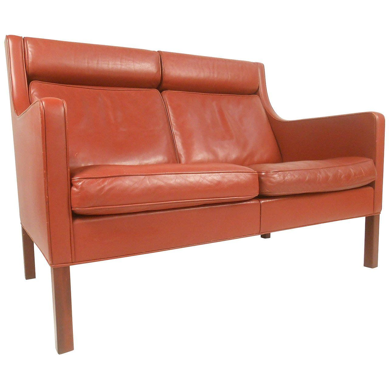 Perfect Mid Century Modern Leather Fredericia Loveseat By Borge Mogensen 1