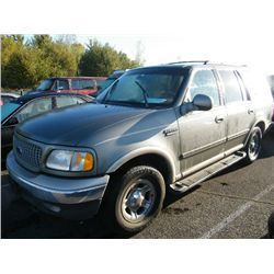 Category: Sport Utility Vehicle Make: Ford Model: Expedition Color: Green Year: 1999 VIN#: 1FMPU18L4XLB34165 License Plate: NONE Title: Will Update Monday Night Mileage: 211000 Condition: Runs and Drives