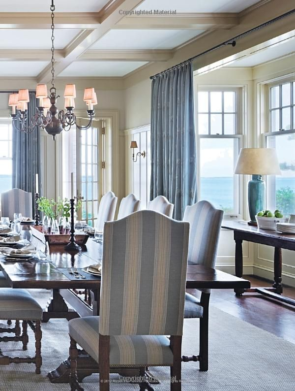 Dining Room Decorating A Traditional With Striped Chairs And Wooden Large Table Candelabra Coffered Ceiling