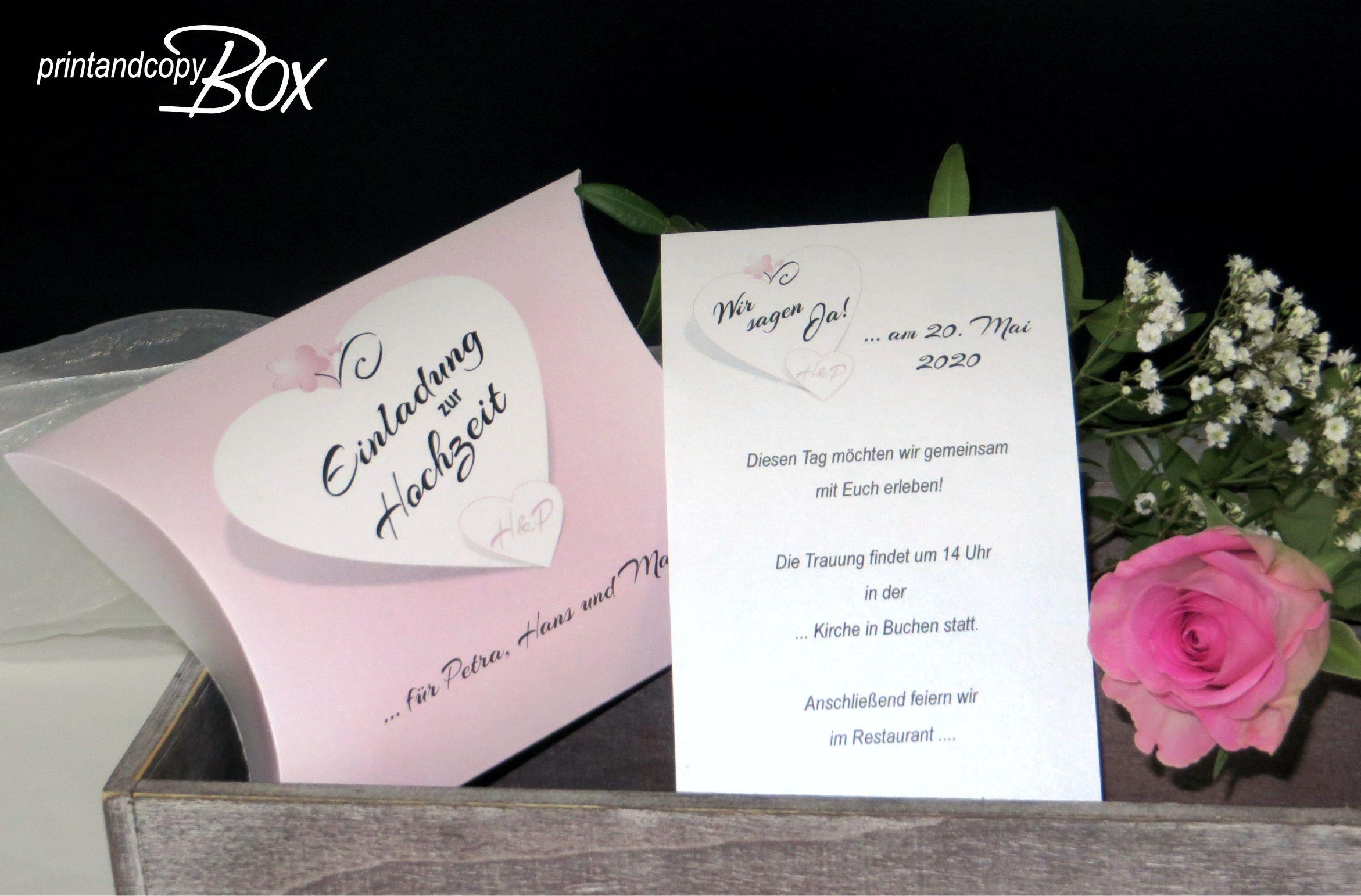 Hochzeitseinladung Mal Anders Die Box Mit Dem Design In Rosa Ist