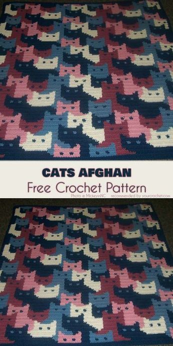 Cats Afghan Free Crochet Pattern #crochetpatterns