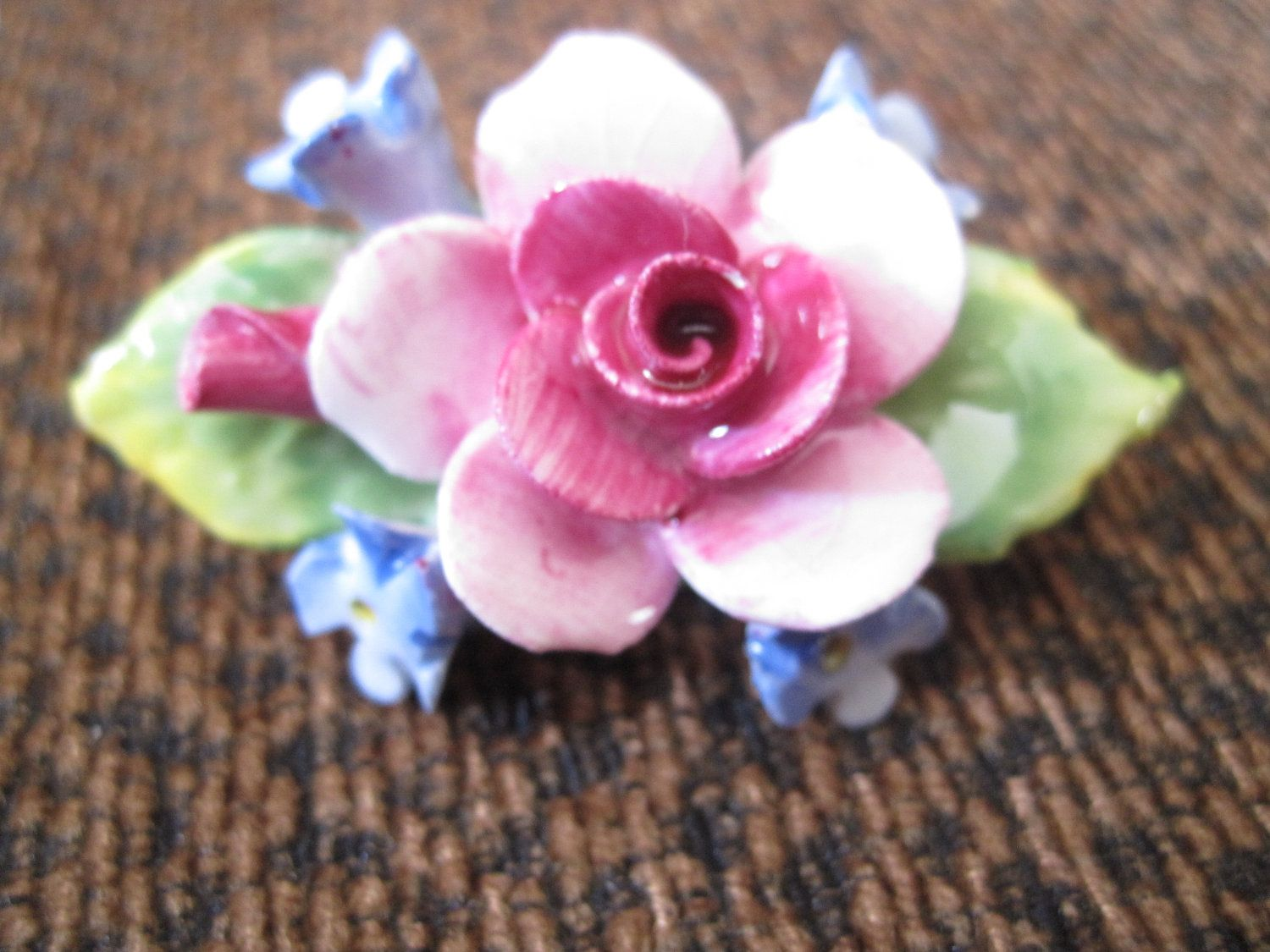 Vintage Artone Pink And Blue Floral Bone China Brooch Costume