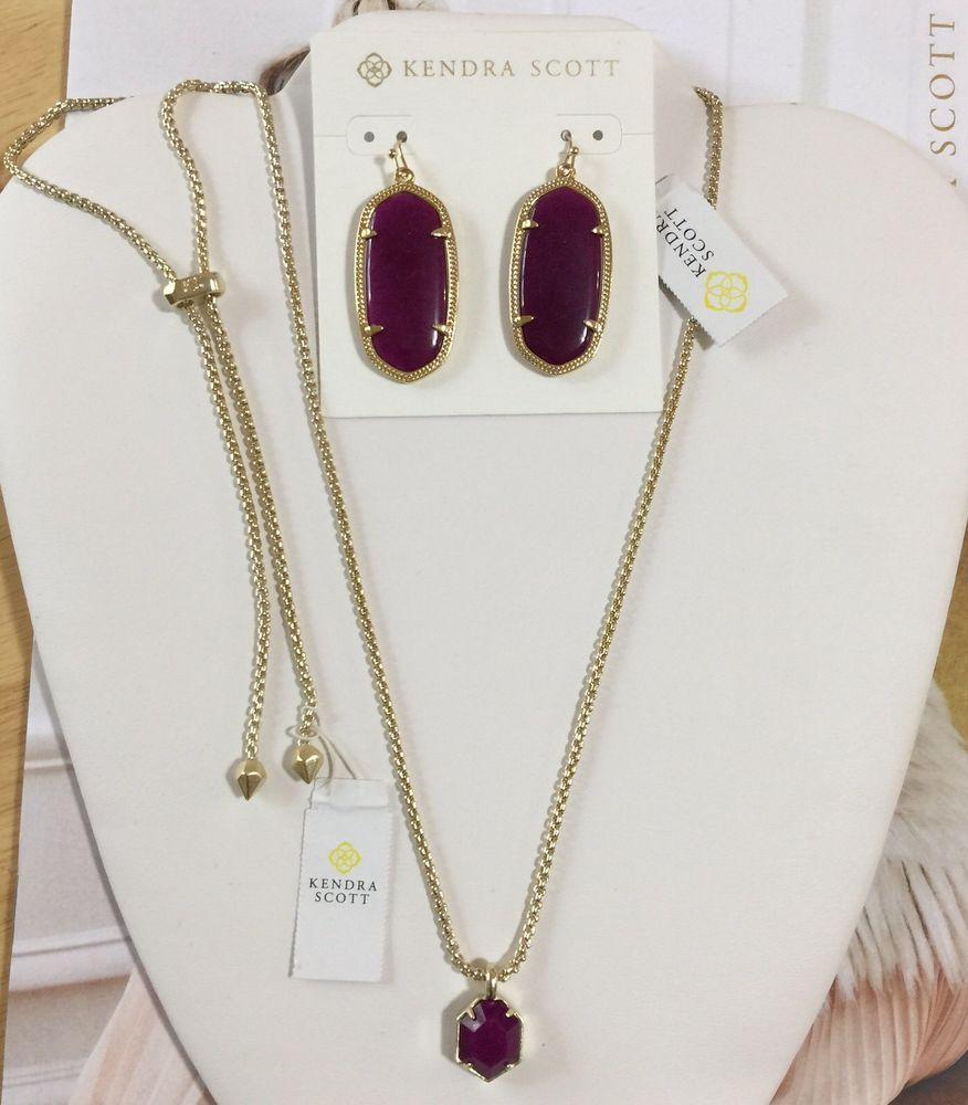Kendra Scott Purple Jade Elle Earrings And Adjustable Teo Necklace