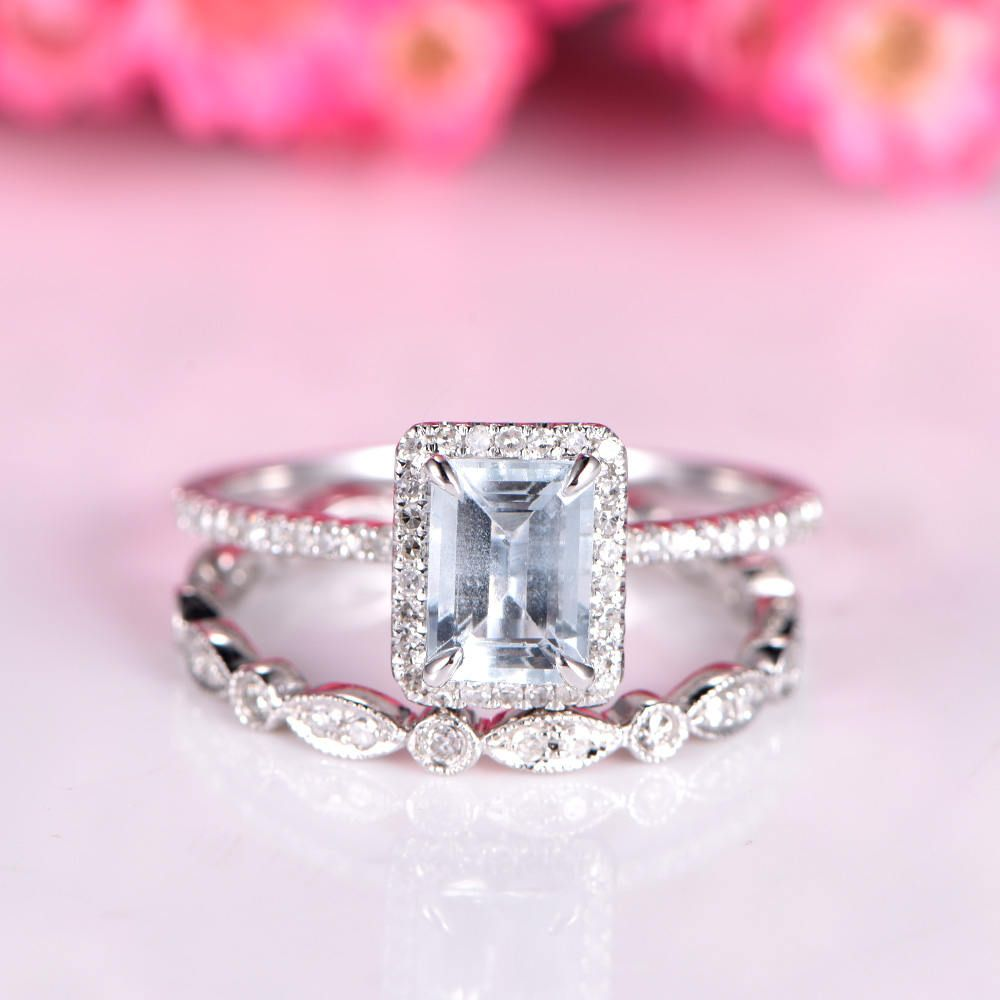 Aquamarine ring set aquamarine engagement ring 5x7mm natural ...