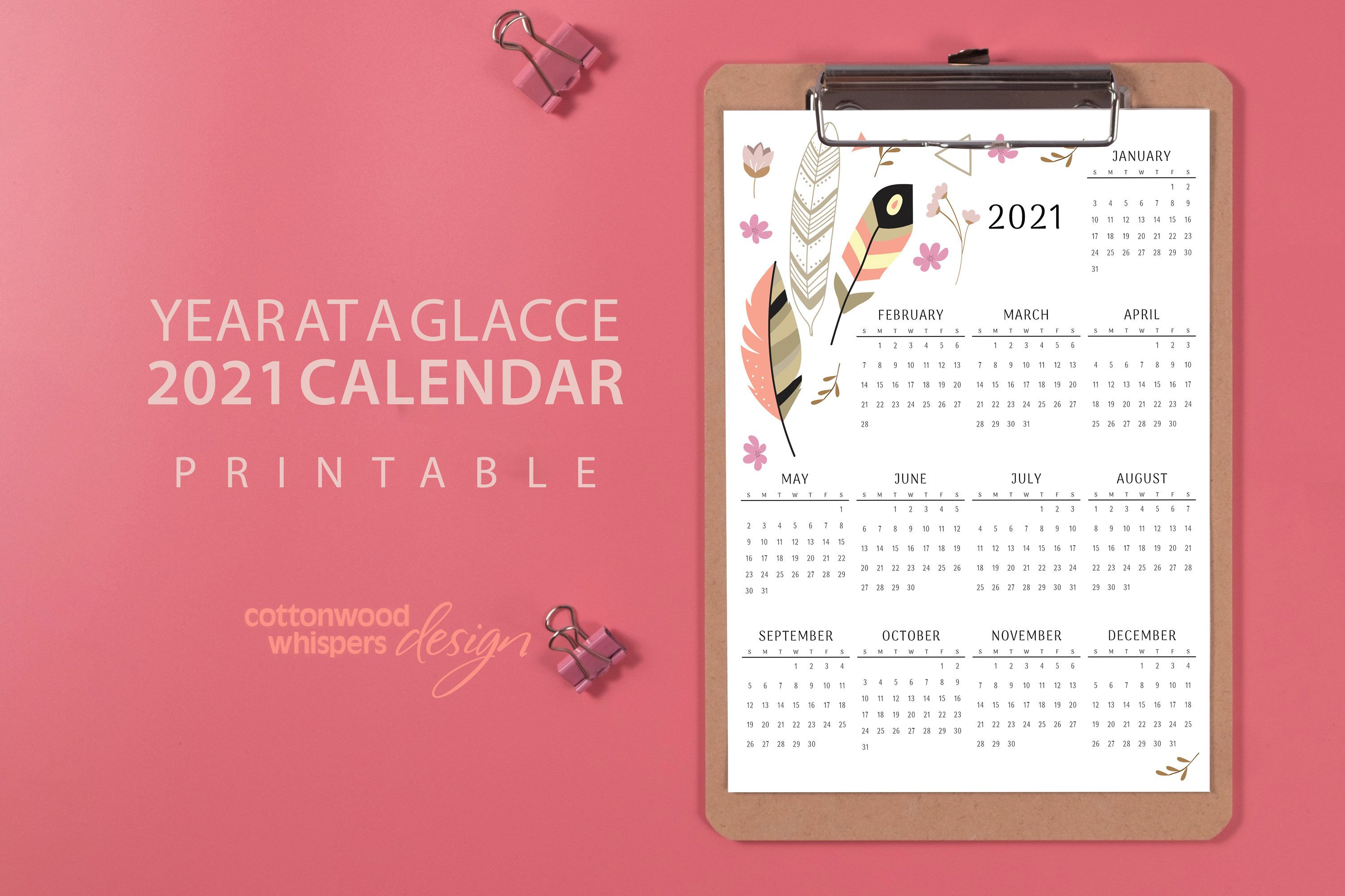 12x18 PDF 2021 Calendar download DIY 12 months wall poster Year at a Glance Yearly Planner