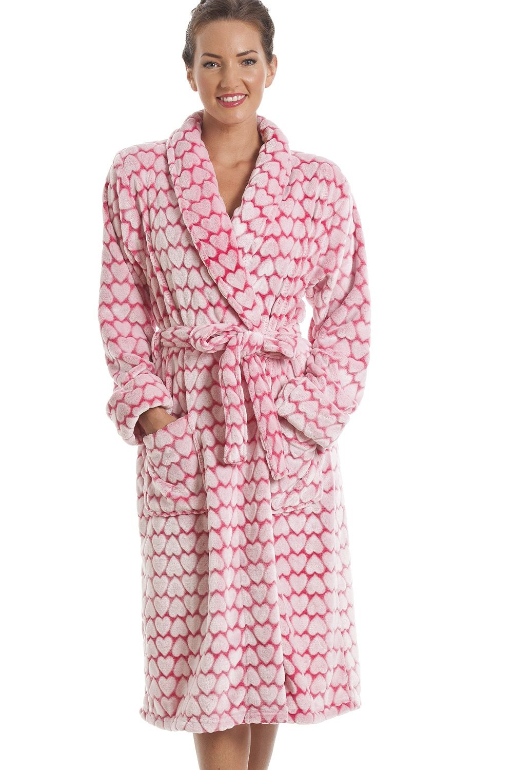 White Heart Print Supersoft Fleece Pink Bathrobe  2507134cd