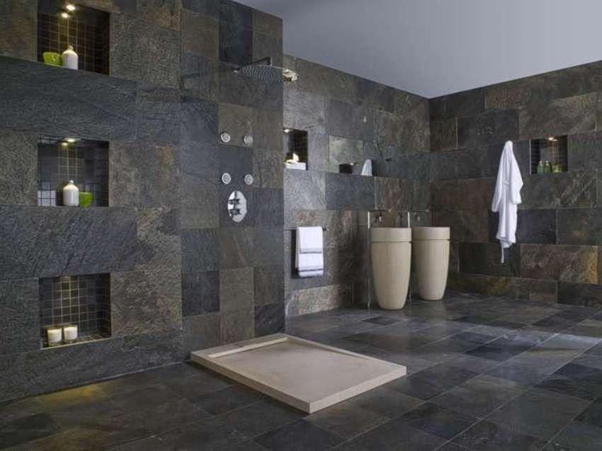 Schiefer Im Bad badezimmer dusche naturstein pool natursteine