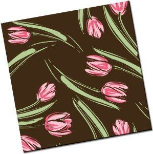 "Chocolate Transfer Sheet: Tulips - Pink - 8 Sheets  DIMENSIONS: 10"" X 13"" MATERIAL: Clear Plastic (Accetate) INK: Edible COLOR: Pink PACK SIZE: 8 sheets"