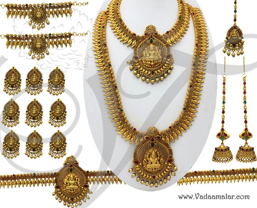 Antique design Goddess Lakshmi Design Jewellery Set 16 piece