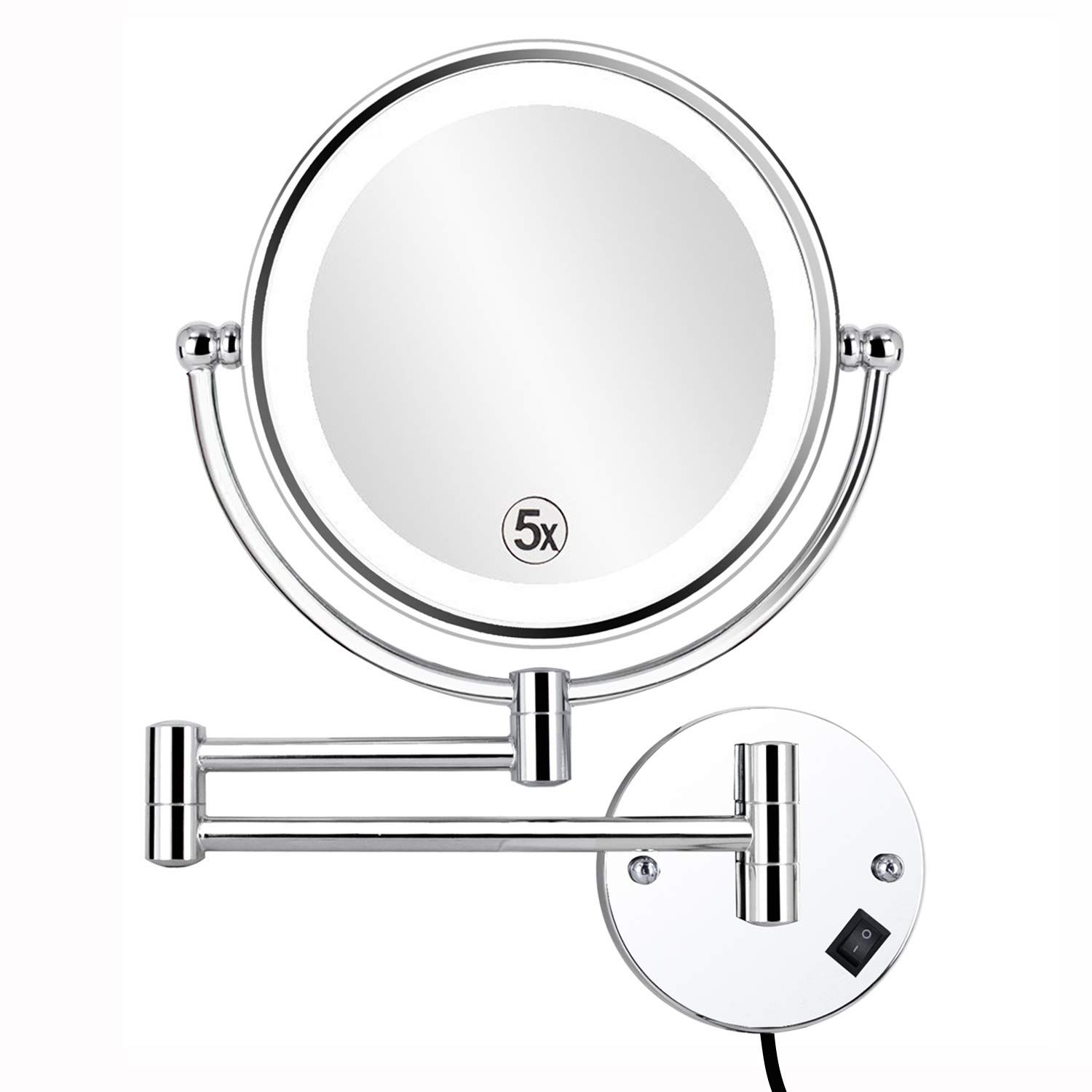 Alhakin 8 5 Inch Led Lighted Wall Mounted Makeup Mirror With 5x Magnification Double Sided Swivel Vanity Mirror F Wall Mounted Makeup Mirror Led Mirror Mirror