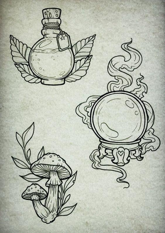 Piercings and Tattoos  Witchy potion sphere and mushroom tattoo art ideas #tattoosandbodyart
