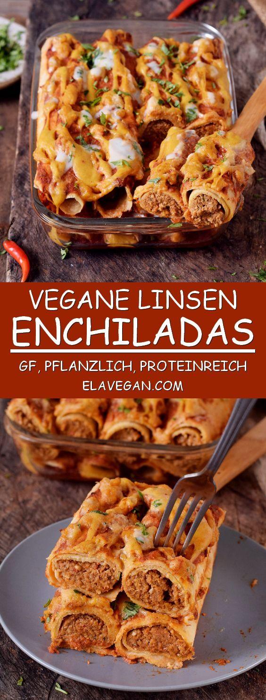 Proteinreiche, vegane Enchiladas aus Linsen und anderen gesunden, rein pflanzlichen Zutaten. Sie sind glutenfrei, nussfrei, perfekt als Mittag- oder Abendessen und sehr lecker. #vegetariandish