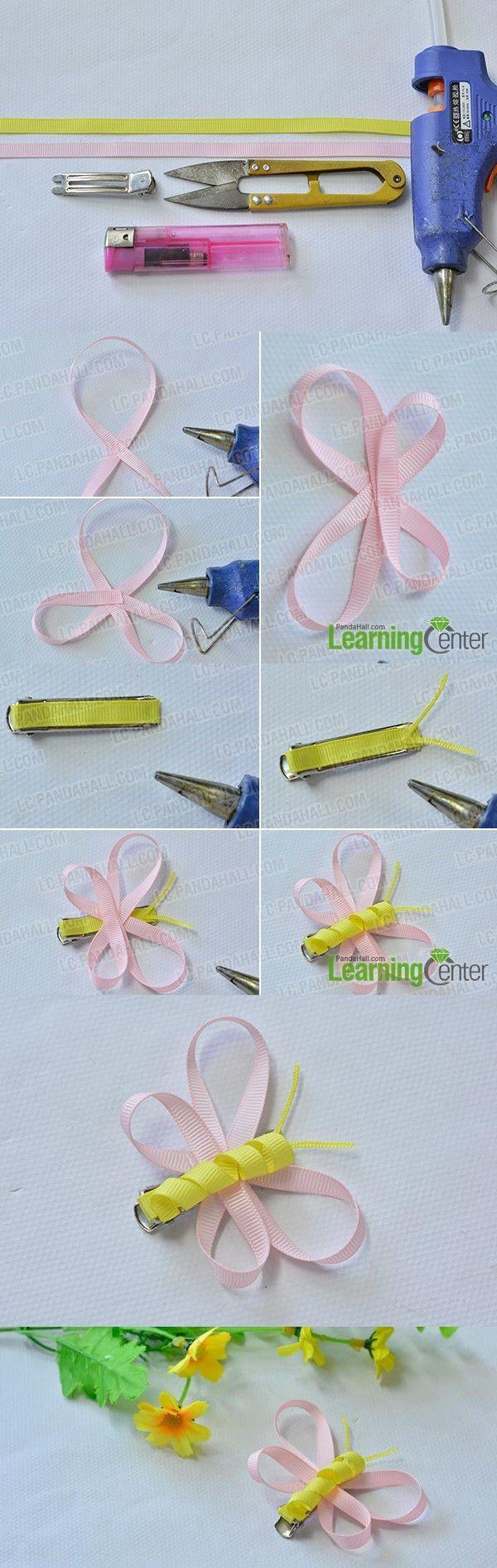 how to make ribbon hair clips