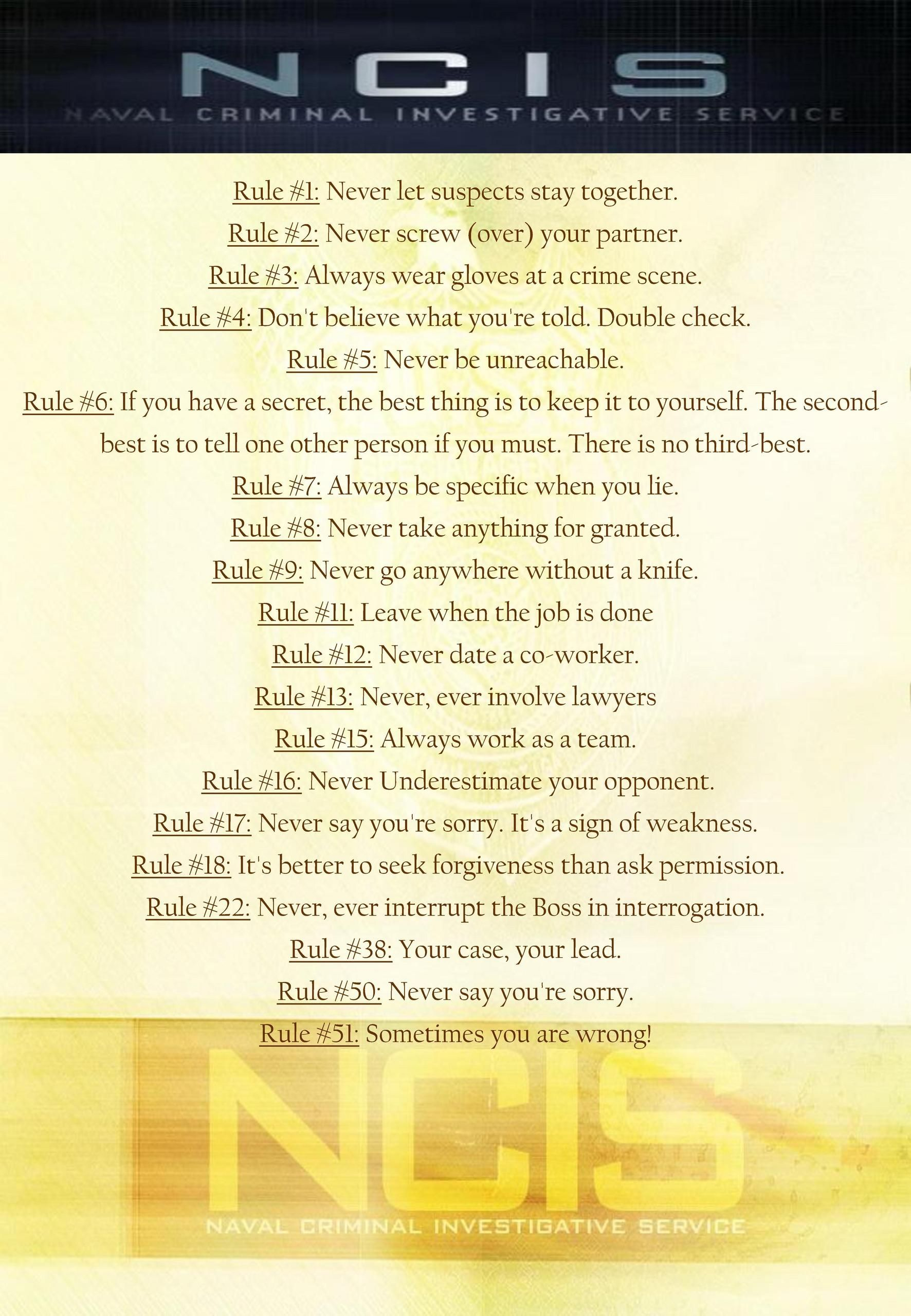 photo about Ncis Gibbs Rules Printable List known as Gibbs Guidelines Poster - Studying Mars