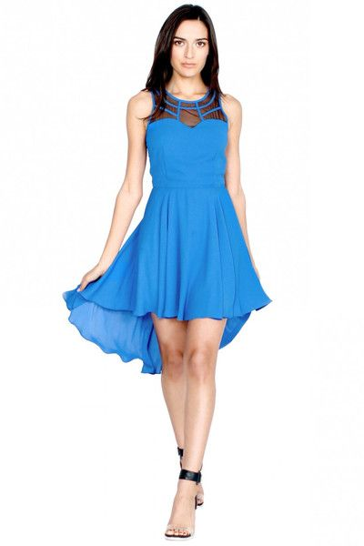 blue hi-lo dress w/mesh detail $63    *perfect blue for spring