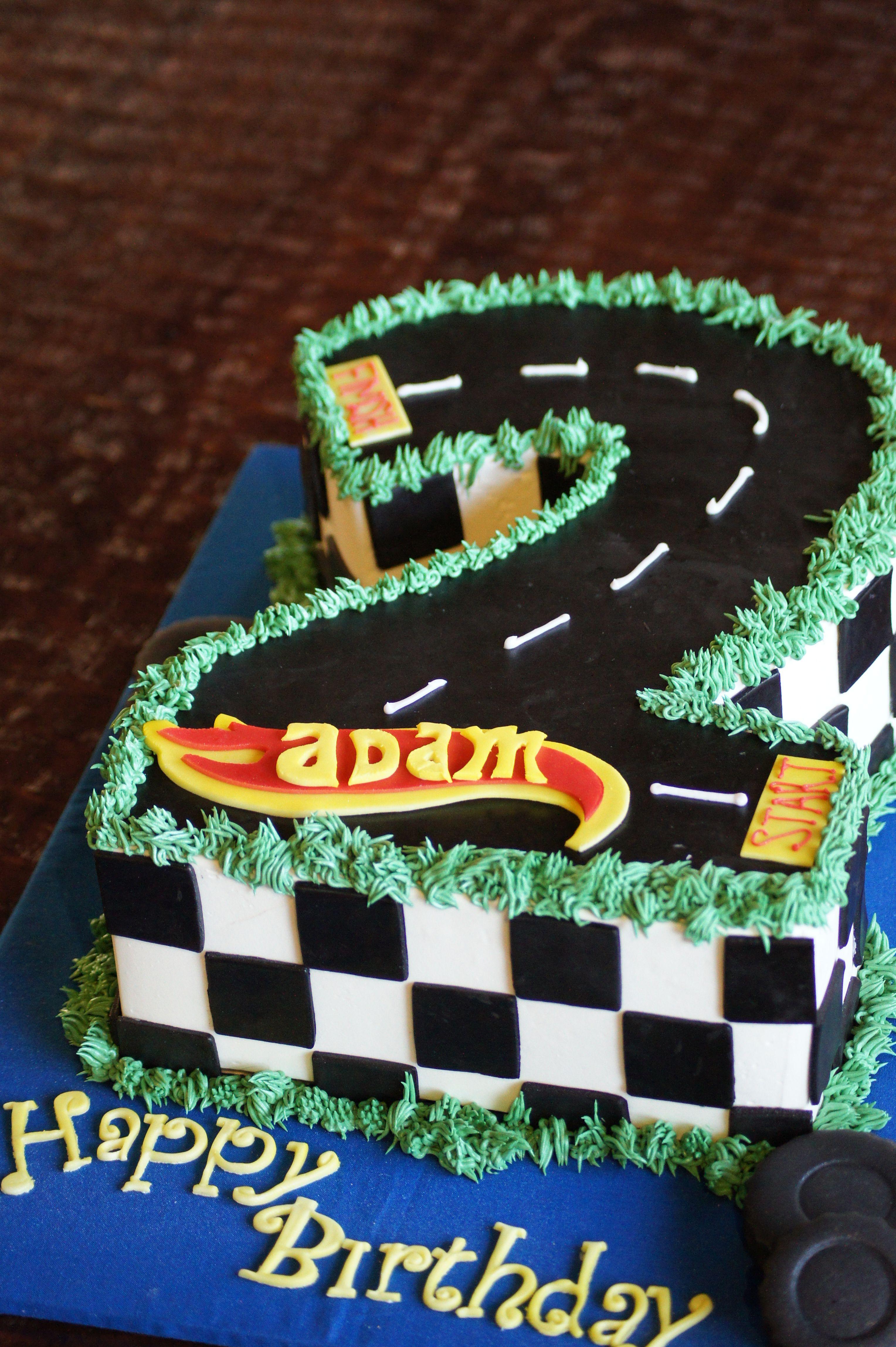 Number 2 Shaped Hot Wheels Birthday Cake Shaped Cakes Pinterest