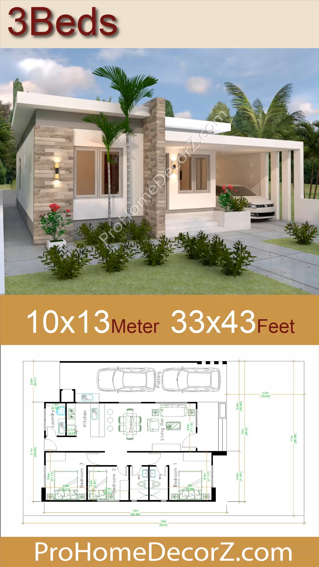 Photo of House Layout Design 10×13 Meter 33×43 Feet 3 Beds